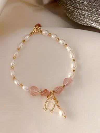 Pink Alloy Imitation Pearl Geometric Bohemia Adjustable Bracelet