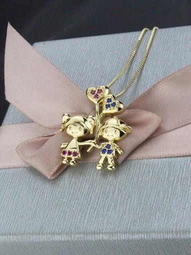 Brass Cubic Zirconia Cute boy girl  Pendant Necklace