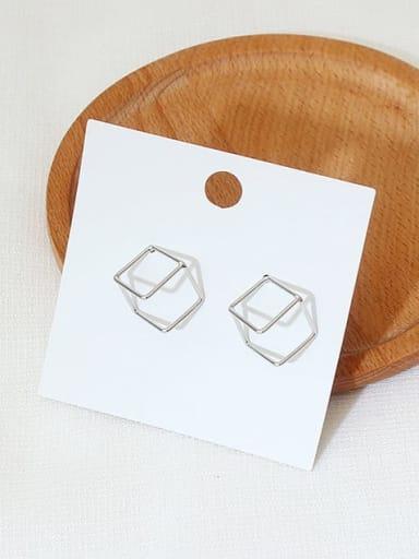White K Copper Hollow Square Minimalist Stud Earring
