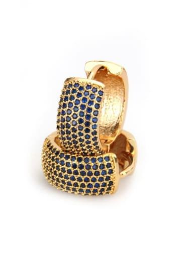 Gold Plated blue zirconium Brass Cubic Zirconia Round Dainty Hoop Earring