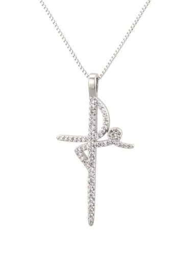 Platinum plating Brass Cubic Zirconia Cross Minimalist Regligious Necklace