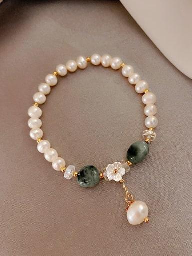 Green Dongling. pearl bracelet Alloy Imitation Pearl Trend Beaded Bracelet