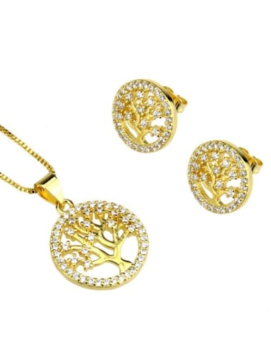 Brass Cubic Zirconia Minimalist Tree Earring and Necklace Set