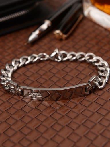 Titanium Cubic Zirconia Cross Link Bracelet