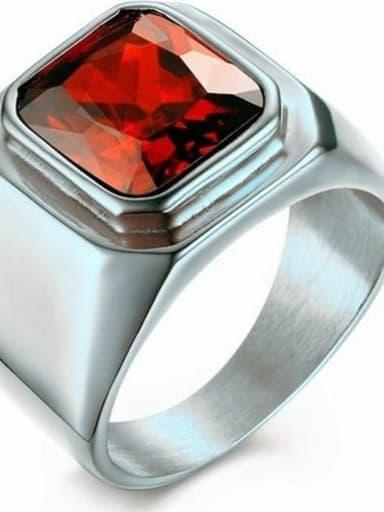 Steel red gem Titanium Glass Stone Geometric Vintage Solitaire Ring