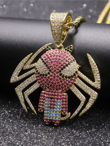 Gold with chain Copper Spider Cubic Zirconia Irregular Hip Hop Pendant  Necklace
