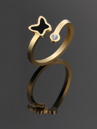 golden Titanium Minimalist Butterfly Band Ring