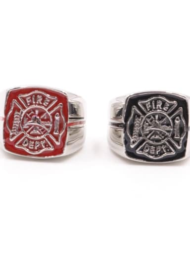 Titanium Fire sign  Square Vintage Signet Ring