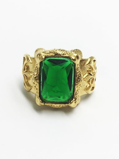 Golden green gem Stainless steel Glass Stone  Retro geometry  Solitaire Ring