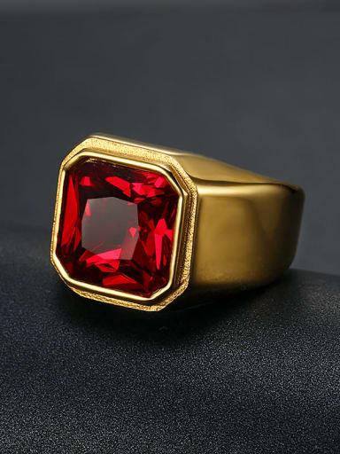 Golden red gem Titanium Glass Stone Geometric Vintage Solitaire Ring