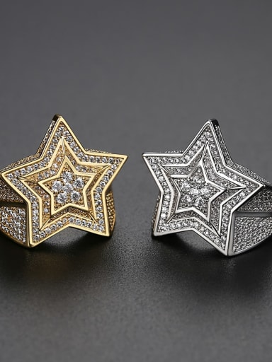 Brass Cubic Zirconia Star Minimalist Band Ring
