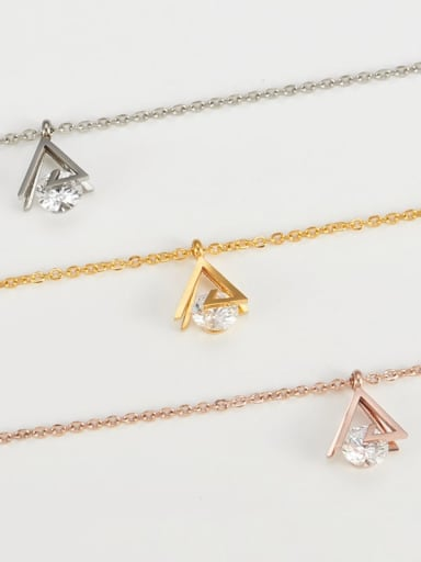 Titanium Cubic Zirconia Triangle Pendant Necklace