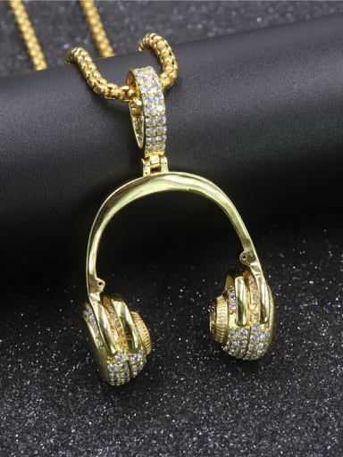 Copper Headset Cubic Zirconia Irregular Hip Hop  Pendant Necklace