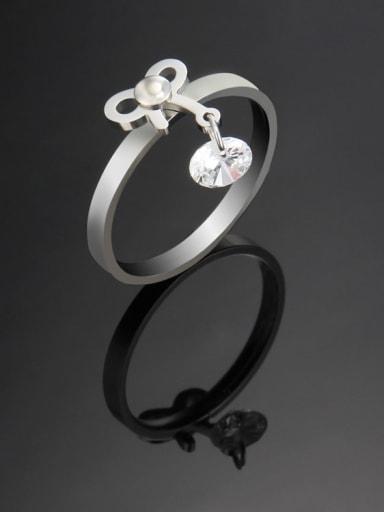 Steel color Titanium Bowknot Minimalist Band Ring
