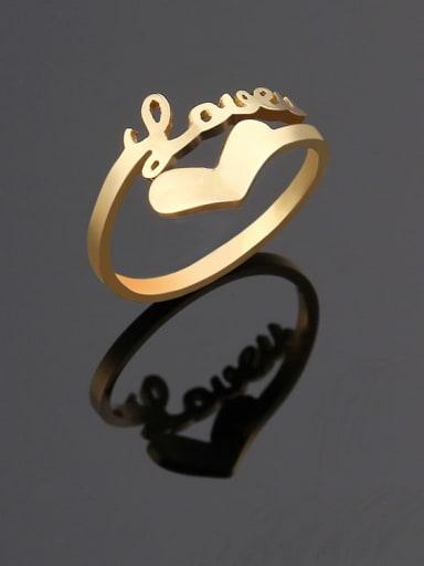 golden Titanium Letter Minimalist Band Ring