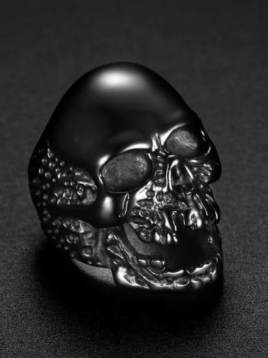 black Stainless steel Skull Vintage Band Ring