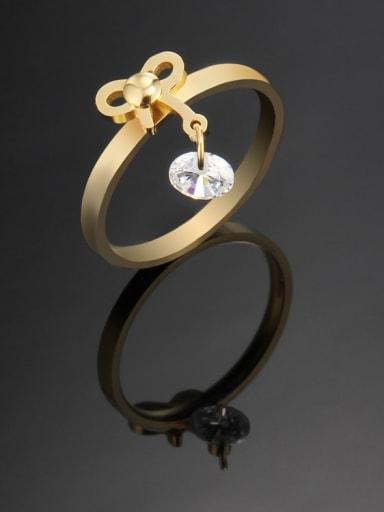 golden Titanium Bowknot Minimalist Band Ring