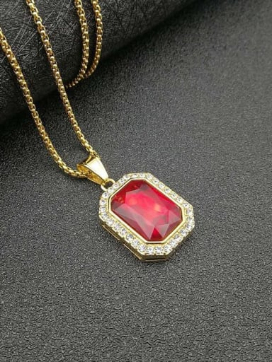 Red glass stone Necklace Titanium Glass Stone Rectangle Hip Hop Necklace