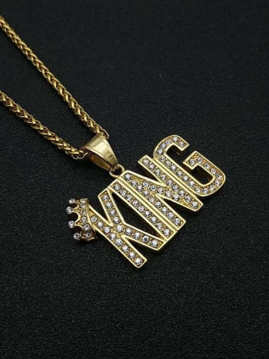 Titanium Letter Rhinestone Irregular Hip Hop Initials Necklace