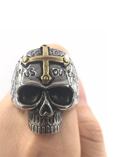 Between gold Titanium Skull Vintage Band Ring