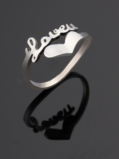 Steel color Titanium Letter Minimalist Band Ring