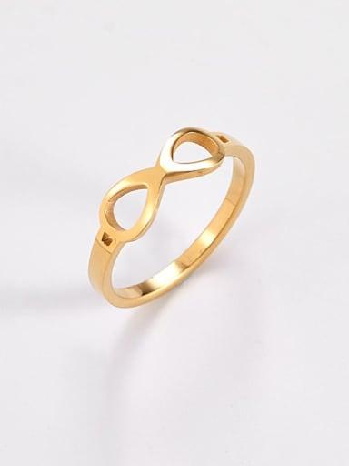 golden Titanium  Minimalist Hollow Nuber 8 Band Ring