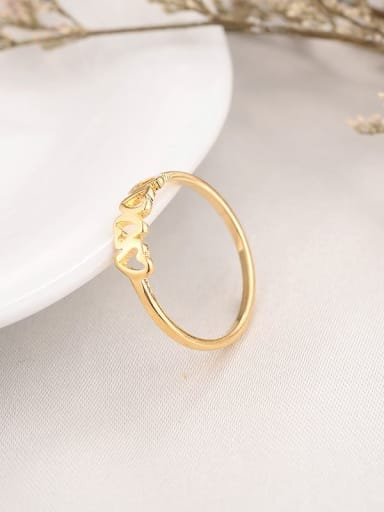 golden Titanium Heart Minimalist Band Ring