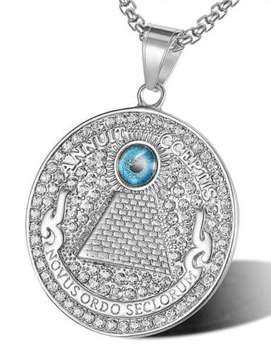 Silver pendant Titanium Rhinestone Round Hip Hop Pendant