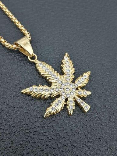 Titanium Rhinestone Leaf Hip Hop Necklace
