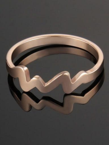 rose gold Titanium Irregular Minimalist Band Ring
