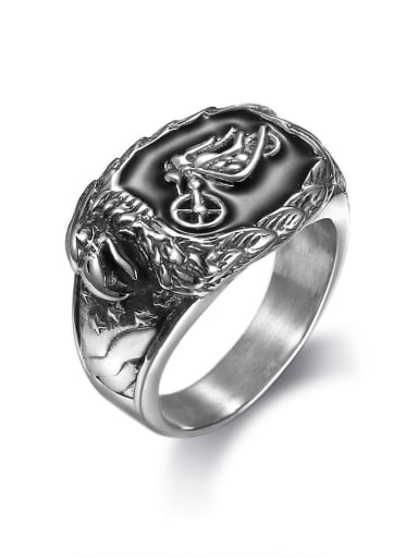 Stainless steel Motorcycle Geometric Vintage Band Ring
