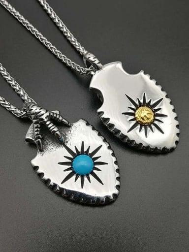 Titanium Eagle Claw Turquoise Eagle Hip Hop Necklace