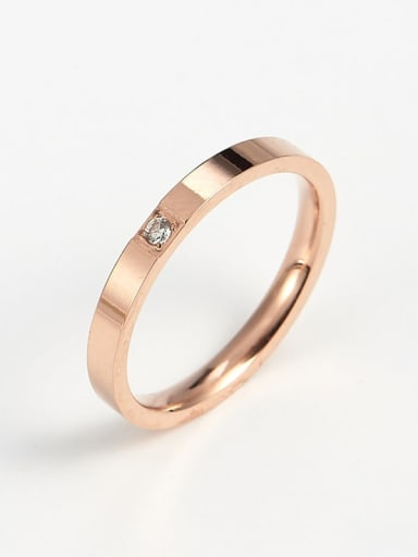 rose gold Titanium Cubic Zirconia Rosary Band Ring