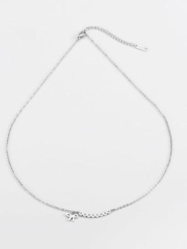 Steel color Titanium Bowknot Minimalist Necklace