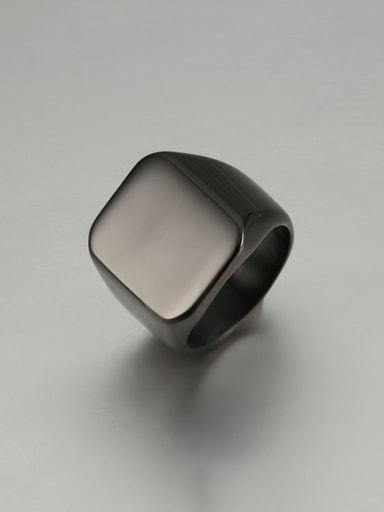 black Titanium Square Minimalist Mens Ring