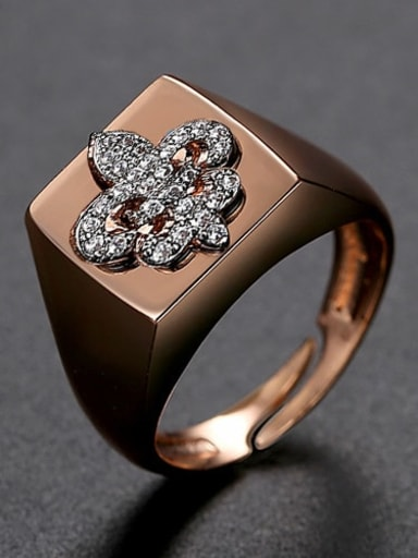 White zirconium 6 t21f05 Brass Cubic Zirconia Geometric Minimalist Band Ring