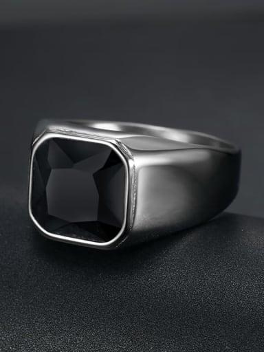 Steel Black Gem Titanium Glass Stone Geometric Vintage Solitaire Ring