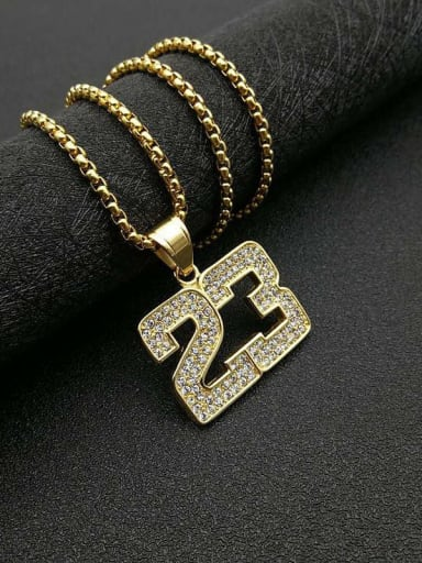 Gold Necklace Titanium digital Rhinestone Irregular Hip Hop Number Necklace