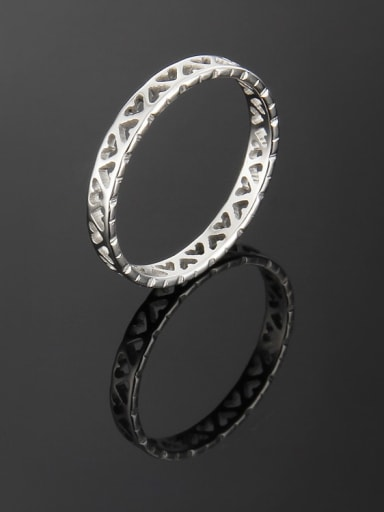 Steel color Titanium Hollow Heart Band Ring