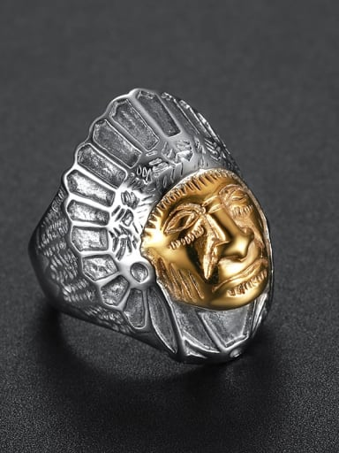 Meta gold Stainless steel Skull Band Ring