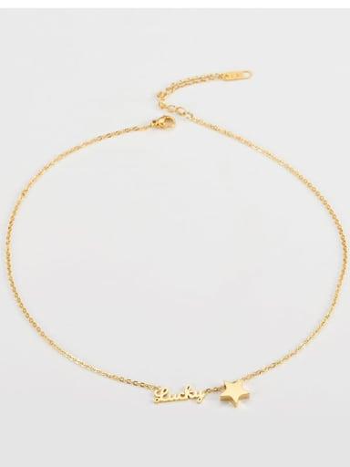 golden Titanium Simple star alphabet necklace