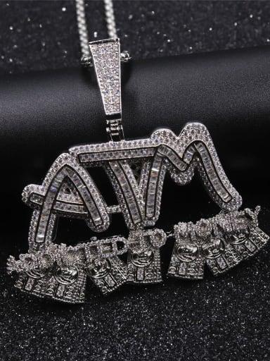 Brass Cubic Zirconia Irregular Hip Hop Initials Necklace
