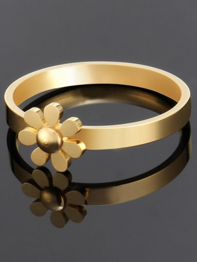 Titanium Minimalist smooth flower band  Ring