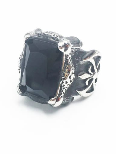 Steel Black Gem Stainless steel Glass Stone  Retro geometry  Solitaire Ring