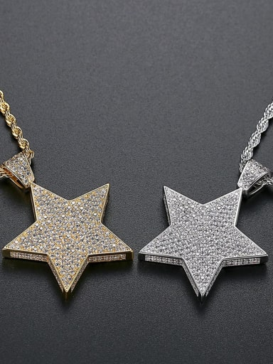 Brass Cubic Zirconia Star Hip Hop Necklace