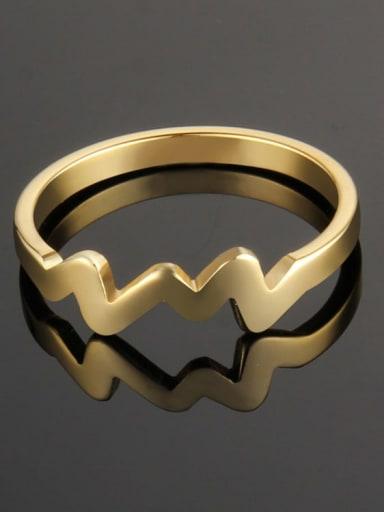 golden Titanium Irregular Minimalist Band Ring