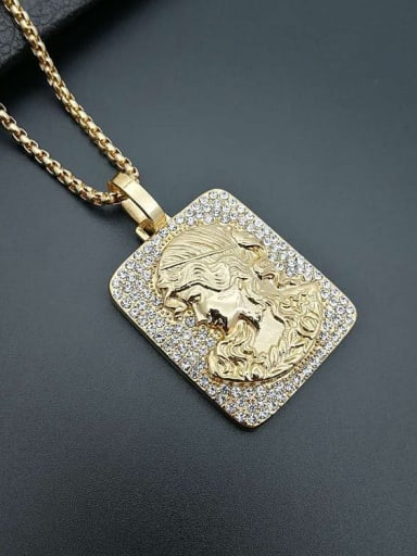 Titanium Rectangle  Rhinestone Hip Hop Pendant