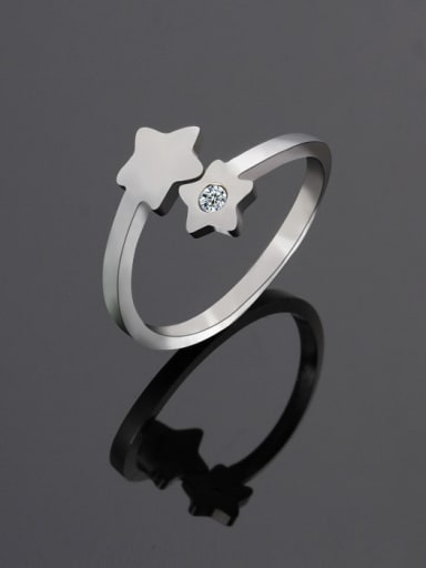 Steel color Titanium Star Minimalist Band Ring