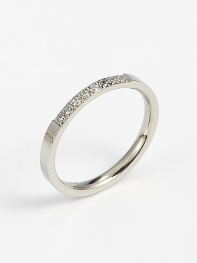 Steel color Titanium Cubic Zirconia Minimalist Band Ring