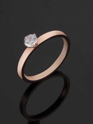 Titanium Cubic Zirconia Round Minimalist Band Ring